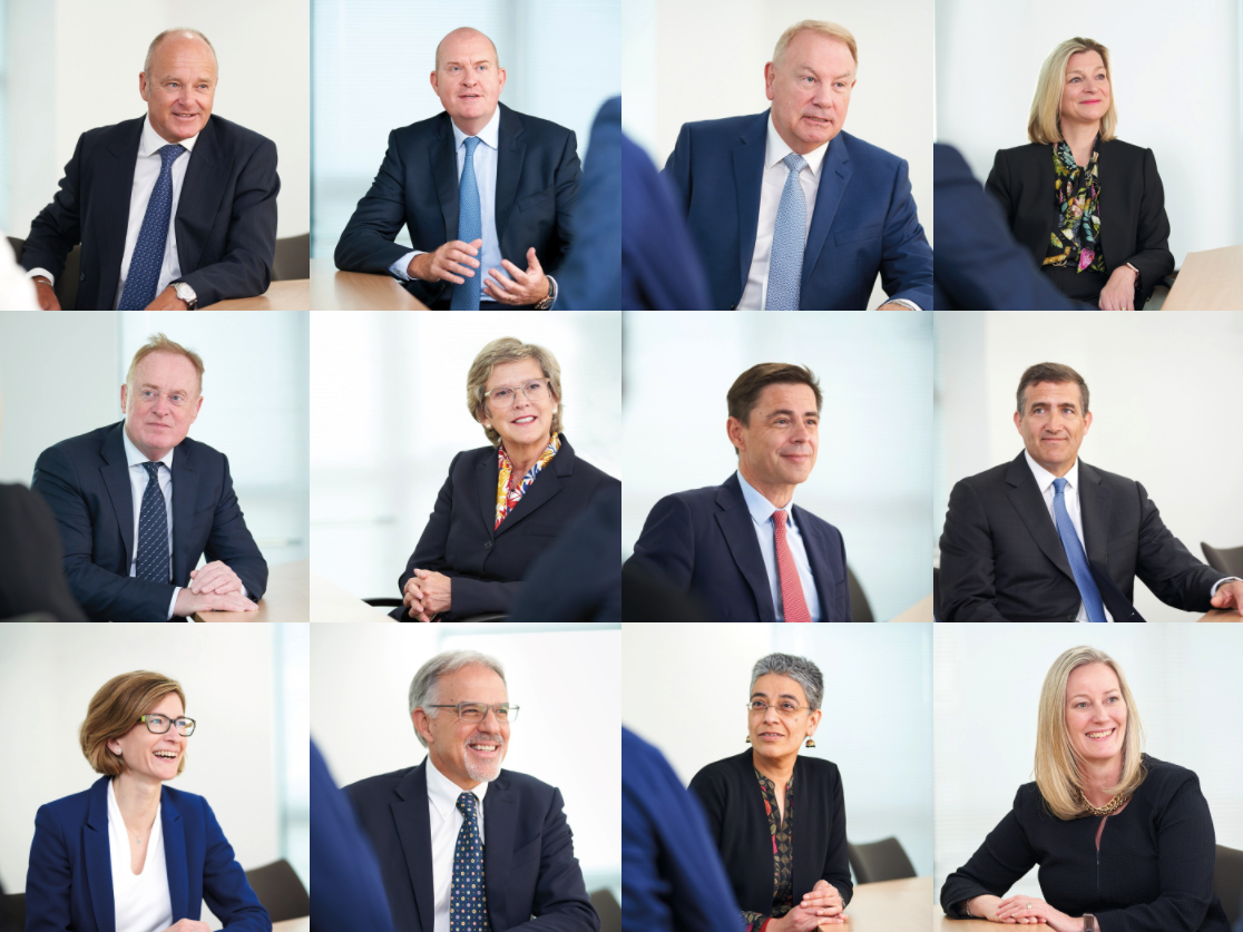 photos of the board members of Compass Group, 12 white-coded people apart from one, all in formal clothing