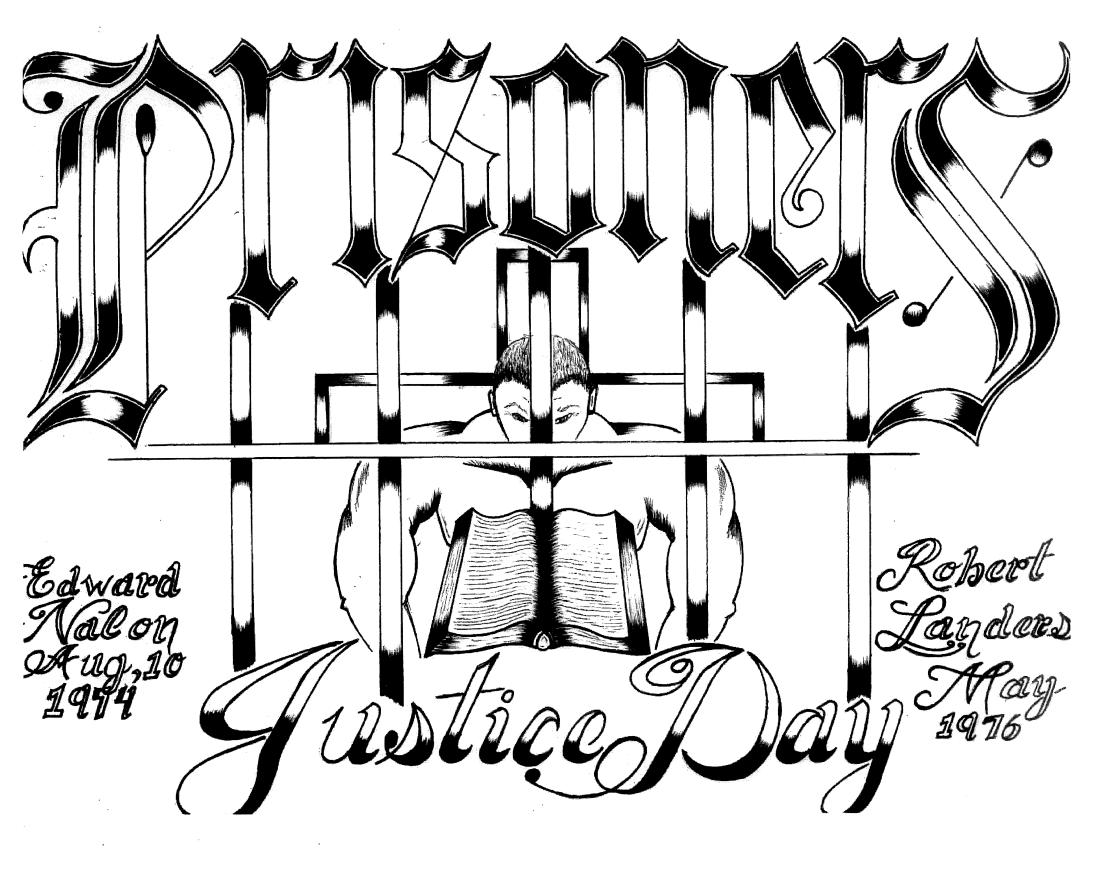 Prisoners Justice Day artwork in commemoration of Edward Nalon and Robert Landers May. A muscular figure is behind bars in the centre, reading a book.
