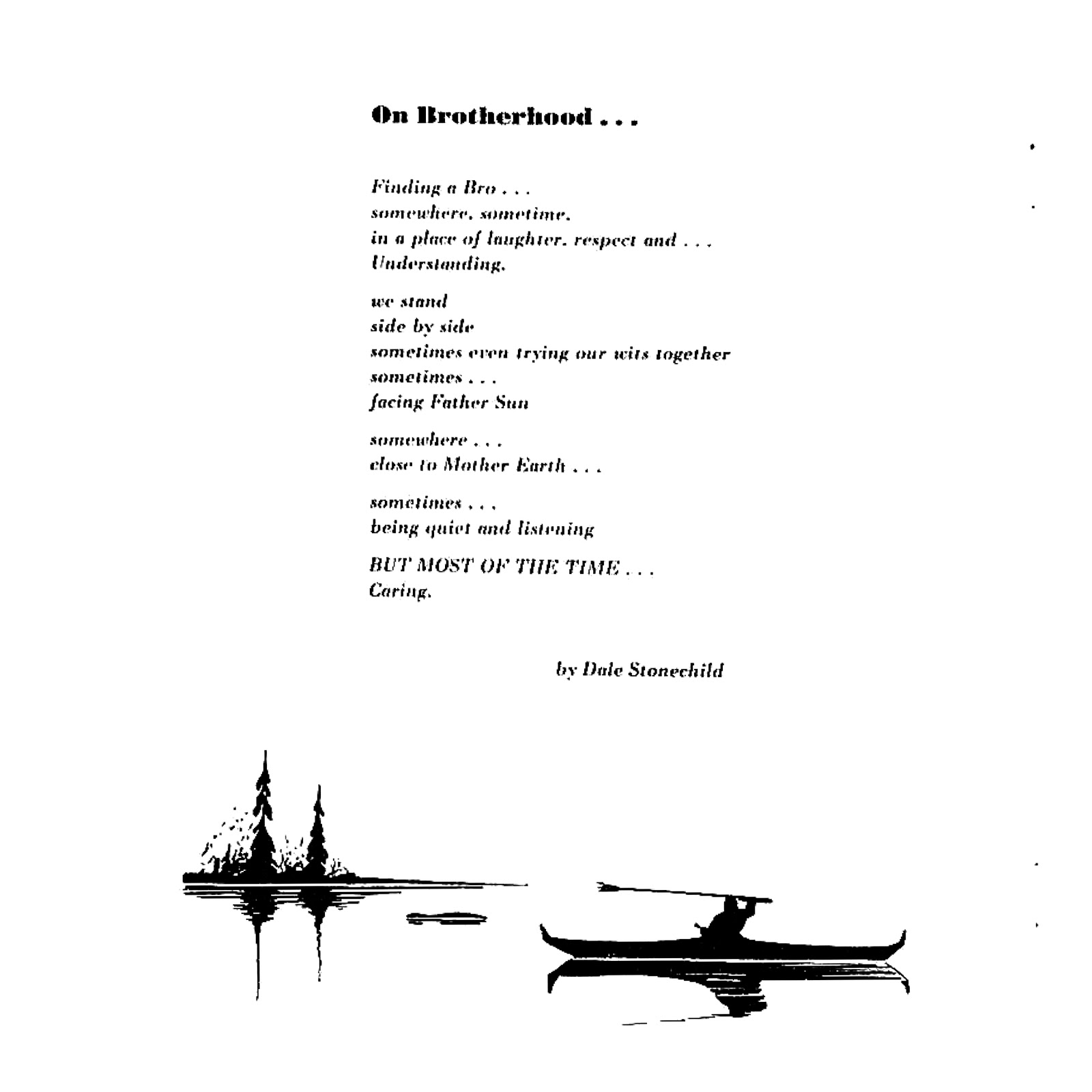 "An image of a poem by Dale Stonechild, entitled ""On Brotherhood."" Below the poem is a picture of a man canoeing with trees in the background"