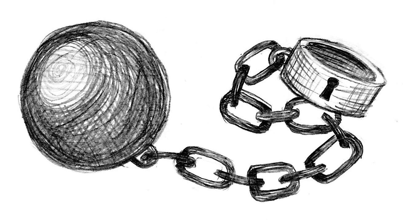 A drawing of a prisoner's ball and chain