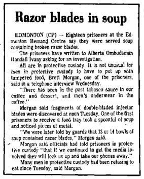 "A newspaper clipping titled ""Razor blades in soup"""