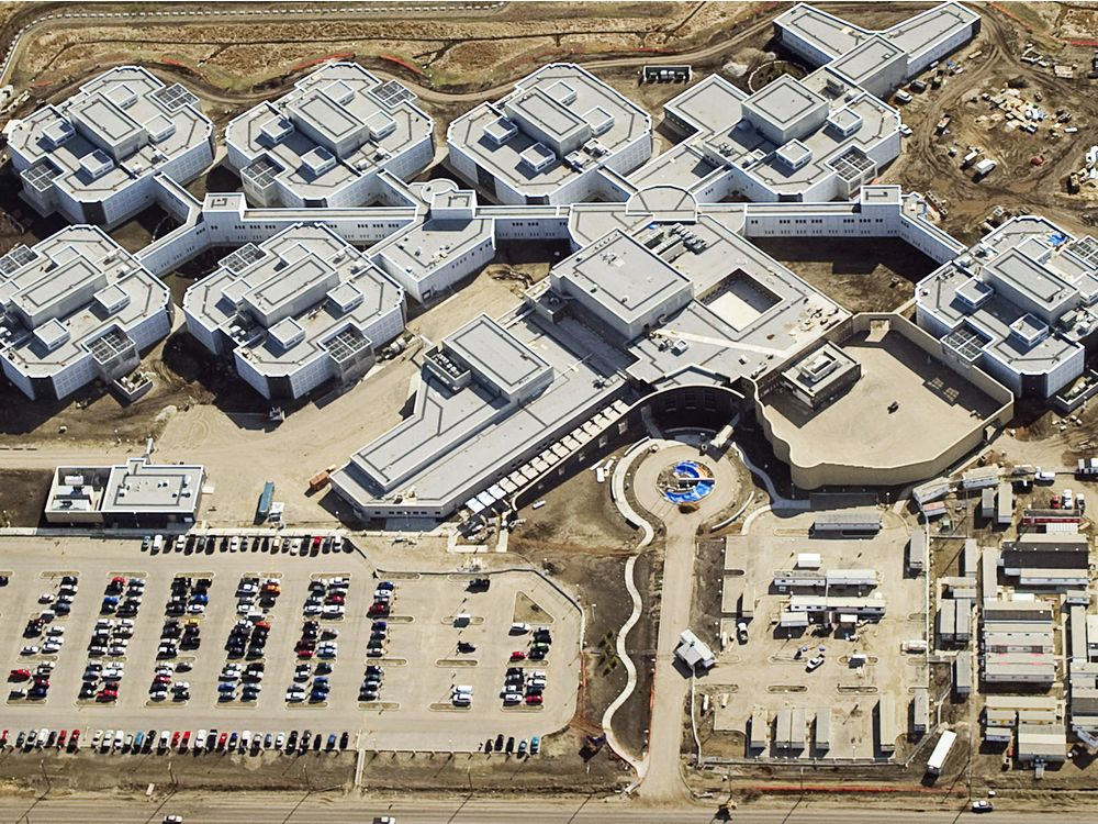 An aerial photo of the new Edmonton Remand Center, a complex of interconnected prison buildings